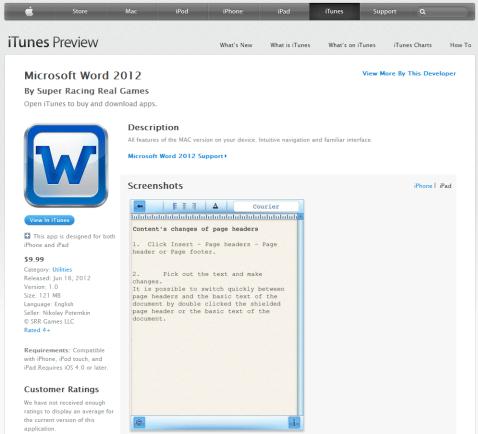 離譜!假冒 Microsoft 的 Word 2012 App,Apple 竟然允許上架 fake-ms-word