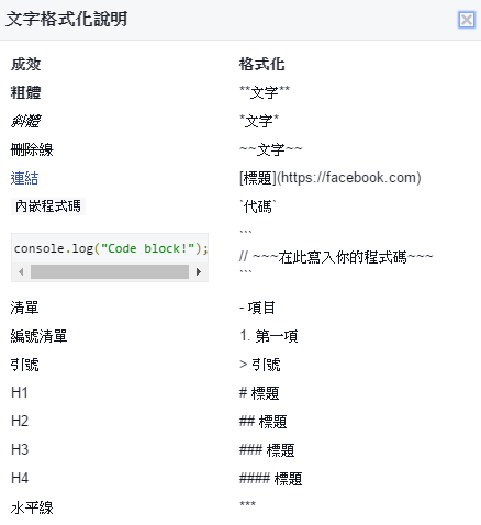 Facebook Markdown 文字格式