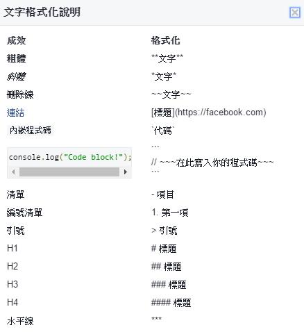 Facebook Markdown 文字格式