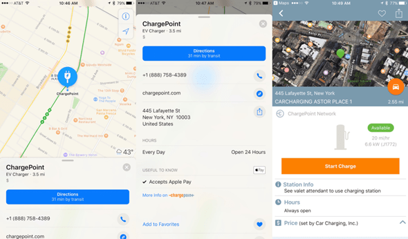Apple地圖整合全球最大電動汽車充電站ChargePoint,導航、充電、付款 chargepoint-apple-maps