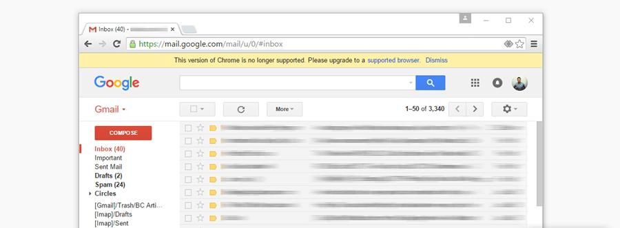 Gmail 將不再對 XP、Vista 與舊版 Chrome 支援,呼籲盡快更新或升級 0_Gmail-alert