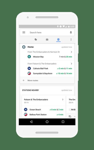 路況、餐廳點指即找!Google地圖App新增即時通勤資訊,Android獨享 homescreen_US_pixel_transit