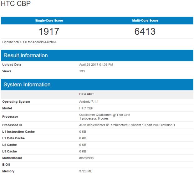 疑似 HTC U 11 跑分與規格現身 Geekbench 網站 HTC-U-11-%E8%B7%91%E5%88%86-1