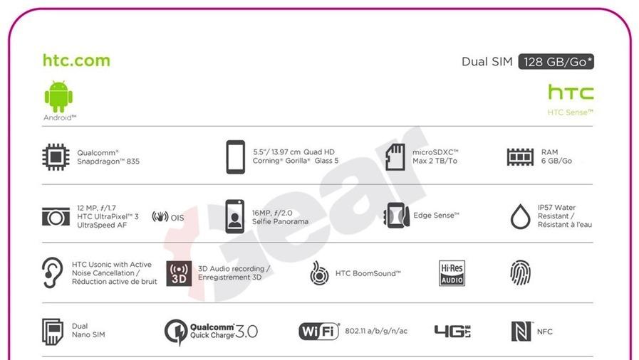 HTC U 11 包裝與規格流出,6GB記憶體、128GB儲存空間與 IP57 防塵防水設計 htc-u-11-leak