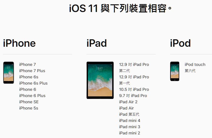 ios 11 支援裝置清單