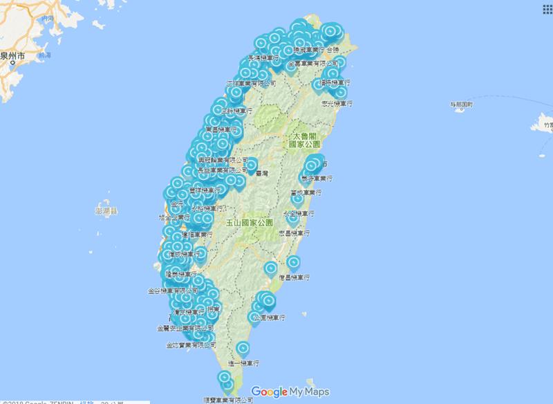 網友製作光陽電動機車充換電站地圖,西部換電站密密麻麻 Image-002
