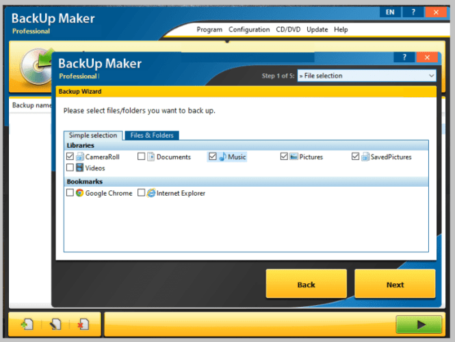 BackUp Maker Professional latest version