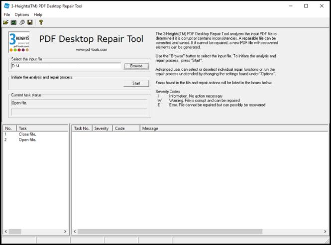 3-Heights PDF Desktop Repair Tool windows