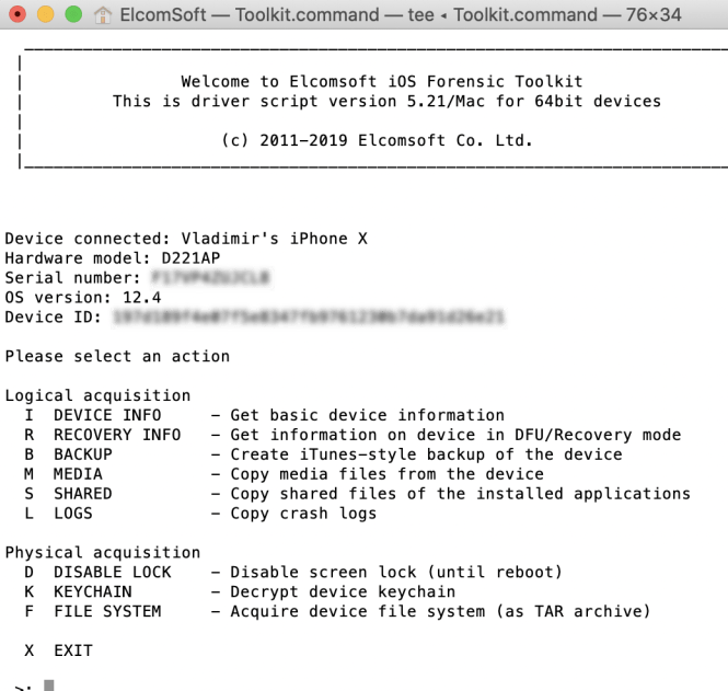 ElcomSoft iOS Forensic Toolkit windows