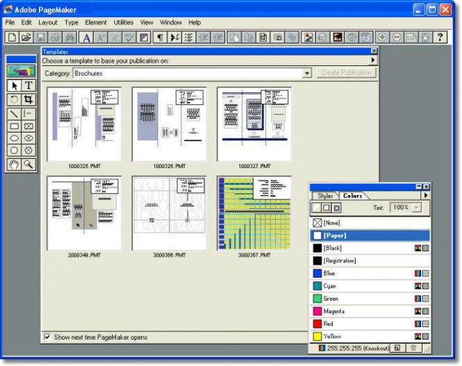 Adobe PageMaker windows