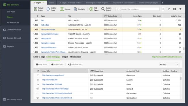 WebSite Auditor windows