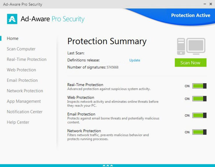 Ad-Aware Pro Security windows