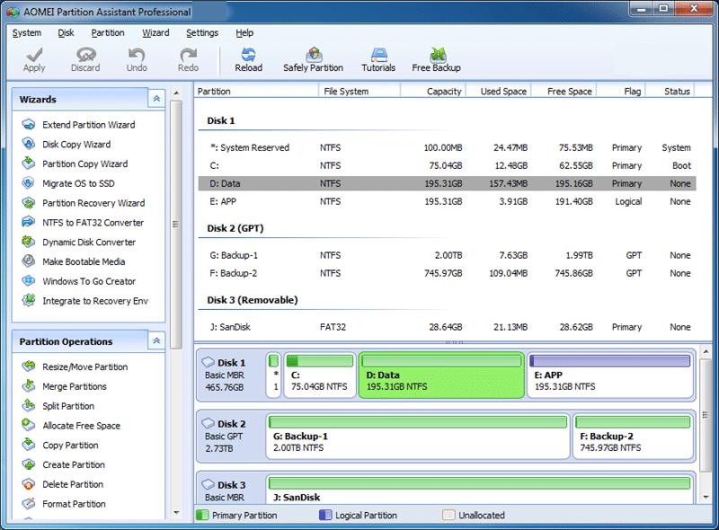 Aomei Partition Assistant Pro windows