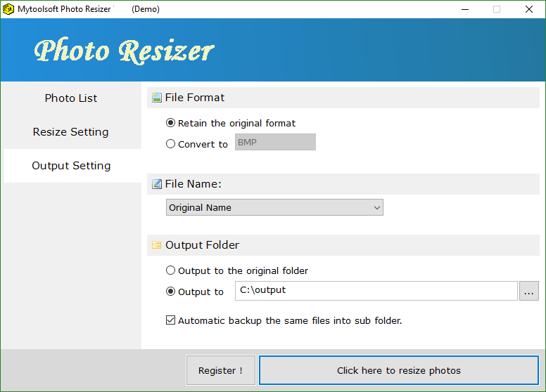 Mytoolsoft Photo Resizer latest version