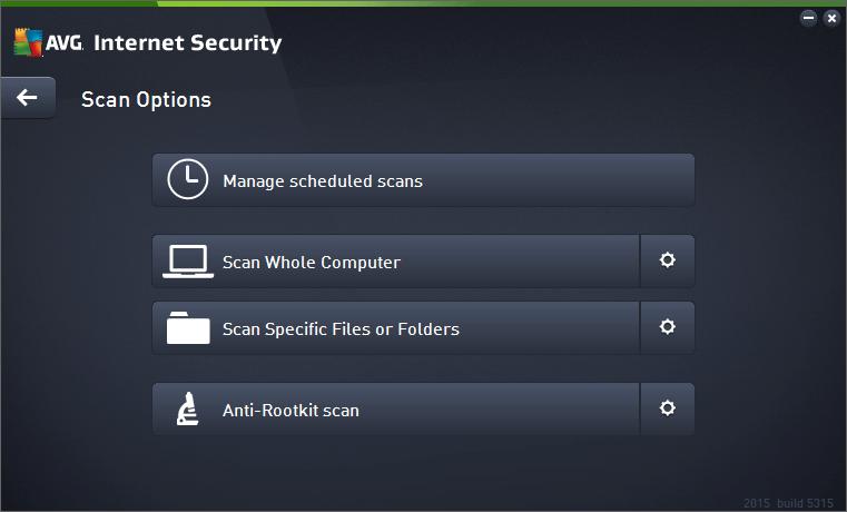 AVG Scan Options