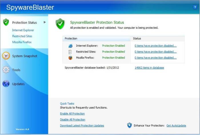 Spyware blaster Interface