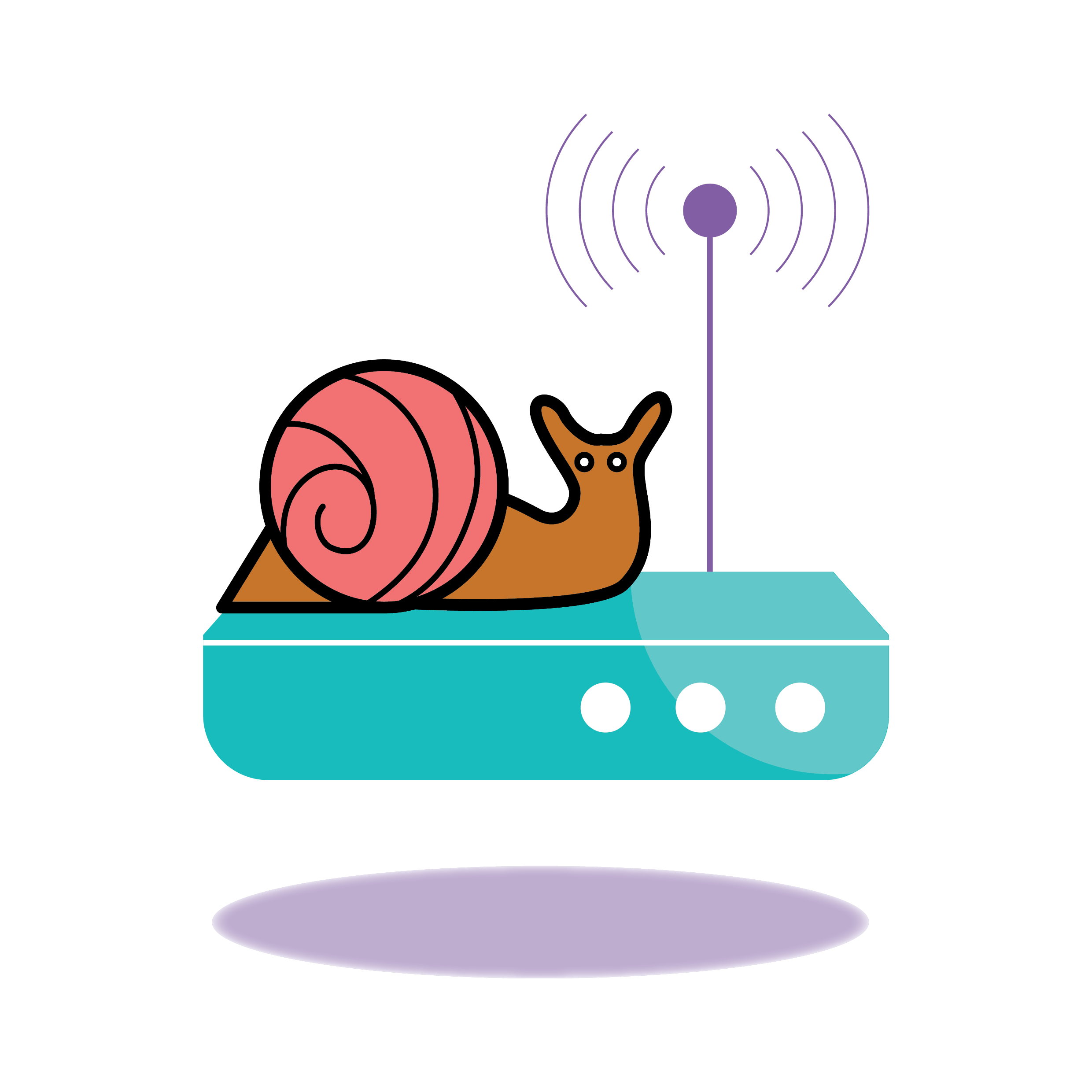 why is my internet so slow - snail on broadband router icon