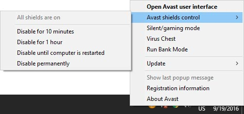 How to Disable Avast Antivirus on windows 10