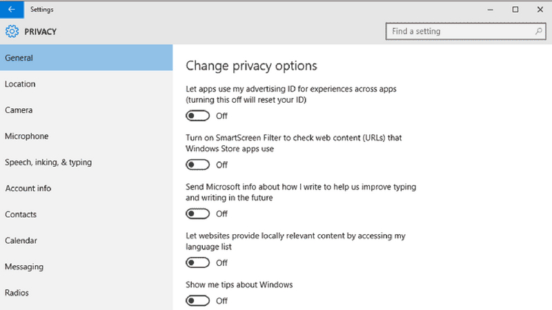privacy issue in windows 10
