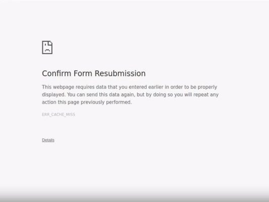 What is Confirm Form Resubmission Error