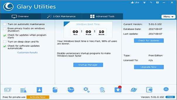 Glary Utilities Free Download Portable Latest Version 4 Pro w/o key