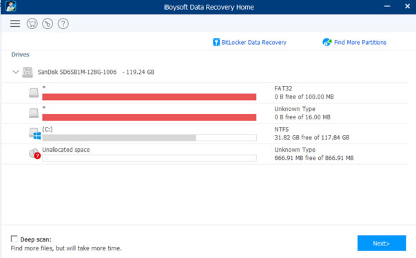 Iboysoft data recovery software interface for windows