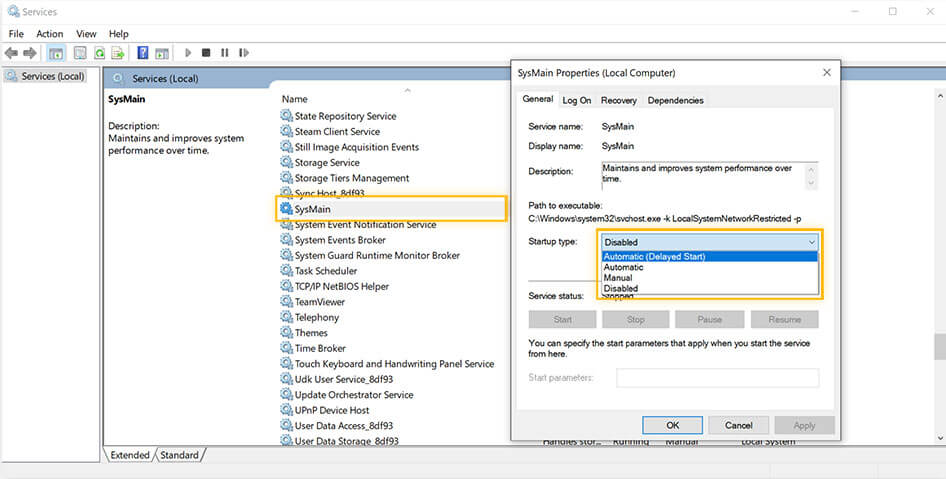 How to Turn off SuperFetch using Services in Windows 10