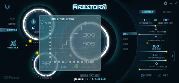 ZOTAC FireStorm fan control software