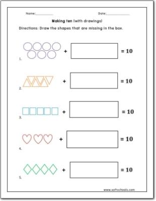 Making Ten With Drawings Worksheet