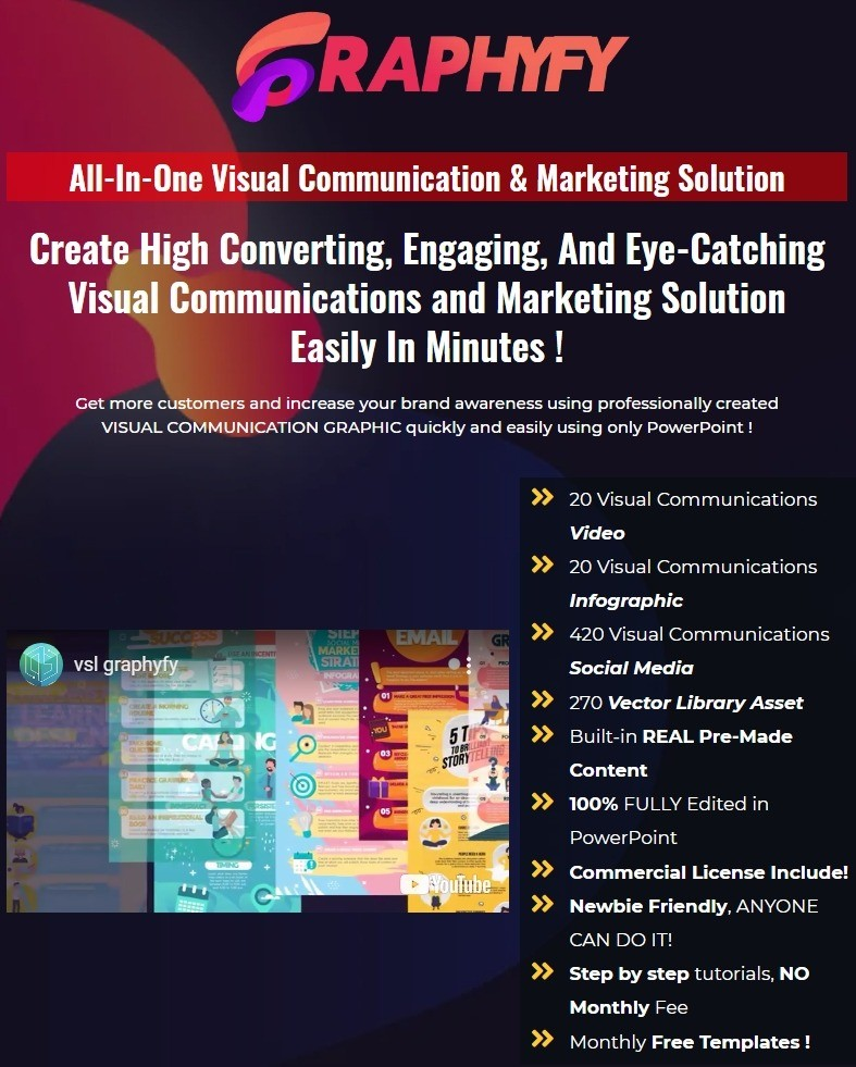GRAPHYFY: All-In-One Visual Communication & Marketing Solution  Create High Converting, Engaging, And Eye-Catching Visual Communications and Marketing Solution Easily In Minutes !