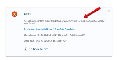 Error when creating or deleting a content type in SharePoint