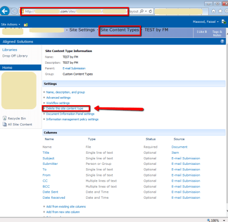 SharePoint Site Content Type Settings Page