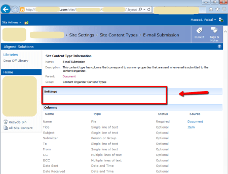 SharePoint Site Content Type - E-mail Submission - Empty Settings area