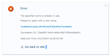 SharePoint - Site Feature Error - The Specified name is already in use.