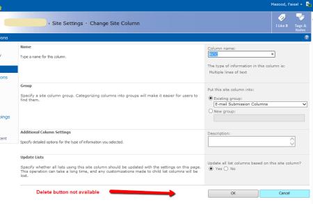 SharePoint Site Column - Delete button not present