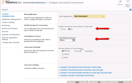 SharePoint - Configure Document Conversions Settings