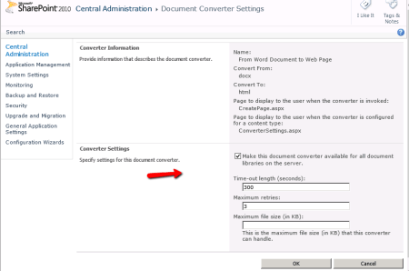 SharePoint Document Converter - From Word Document to Web Page Converter Settings