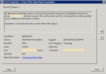 SharePoint Document Conversion Error - Event ID 7034