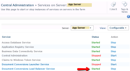 SharePoint Document Conversion Load Balancer Service Started