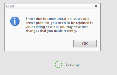 Excel Web Viewer - Session Lost and Lost recent changes Message