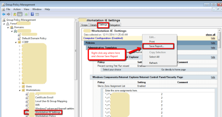Active Directory - Group Policy Management Console - GPO Settings - Save Report
