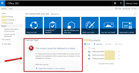 Yammer Feed can not be displayed in the Frame Error on a SharePoint Online (Office 365) page