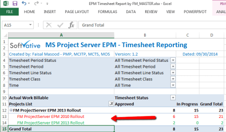 Project Web Access - BI Center Excel Report - EPM Timesheet Report after project renamed