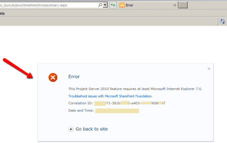 Project Web Access - Manage Timesheets page Error when using IE 11