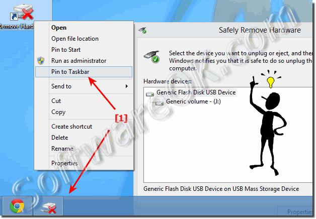 Pin the command Remove Hardware to the Windows-8 Taskbar