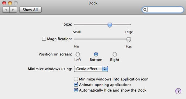edit Mac Dock size (Dock icon size)
