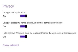 Change Privacy Settings in Windows 8