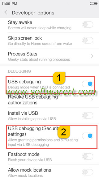 enable usb debugging and usb debugging(security settings) on xiaomi redmi miui