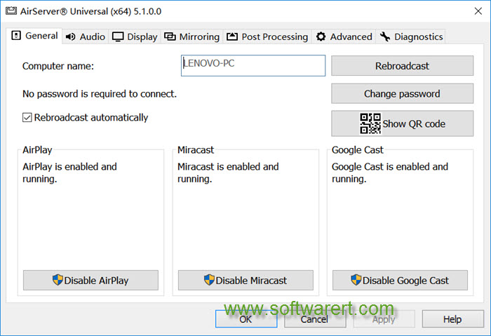 airserver general settings for windows pc