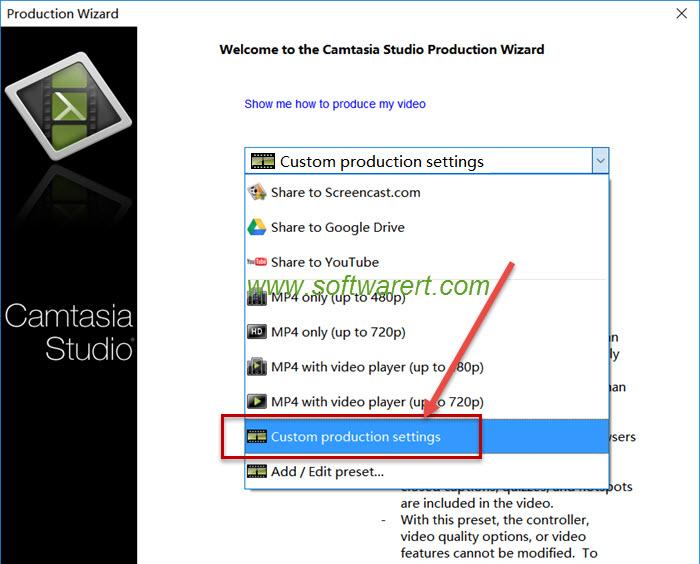 camtasia studio custom production settings